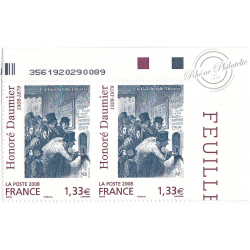 PAIRE SE TENANT TIMBRES POSTE AUTOADHESIFS 224 HONORE DAUMIER 2008 NEUF**