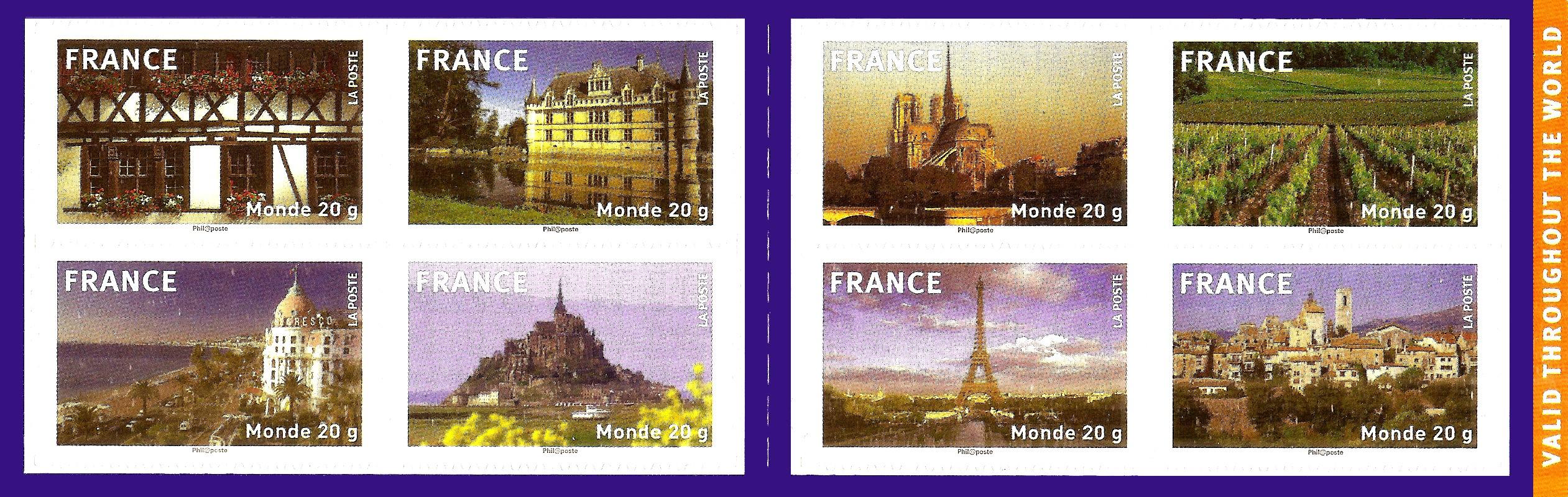 CARNET composé de 8 timbres poste autocollants illustr