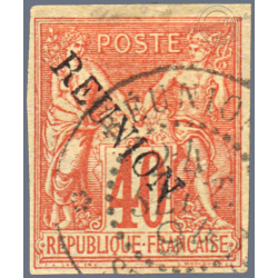 REUNION N°14, TYPE SAGE, TIMBRE OBLITERE,  1891