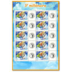 """FEUILLE TIMBRES DU """"3è MILLENAIRE"""" (3365B) AVEC VIGNETTE CERES"""