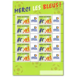 """FEUILLE TIMBRES """"MERCI LES BLEUS"""" (3936A) AVEC VIGNETTE TIMBRES PERSONNALISéS"""