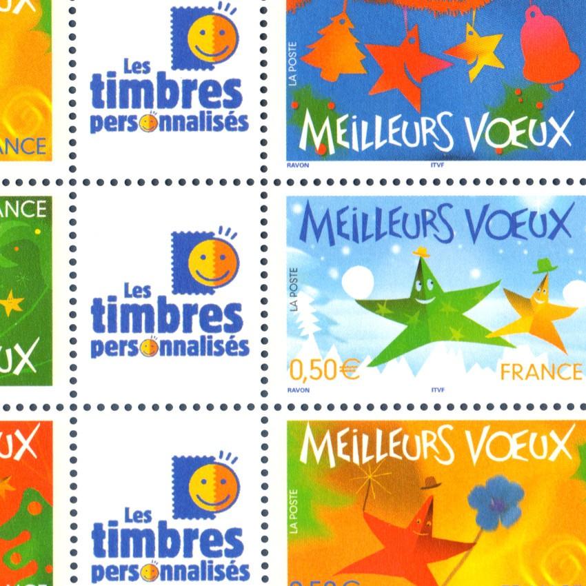 FEUILLE TIMBRES VOEUX PERSONNALISES (3722A) composée de 10