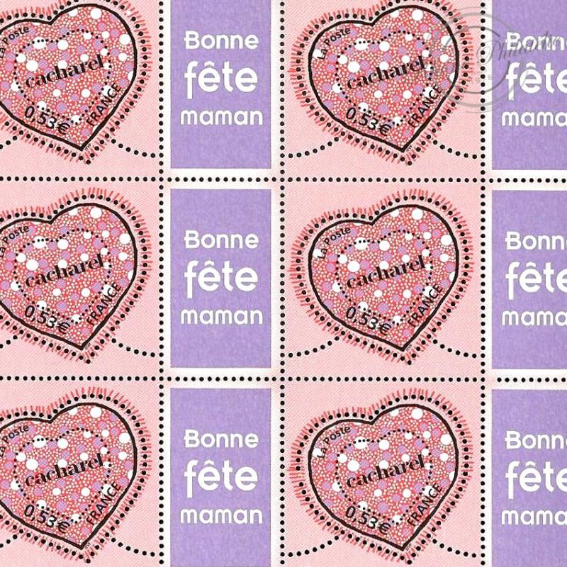 """FEUILLE TIMBRES SAINT-VALENTIN """"COEURS DE CACHAREL"""" (3747A) AVEC VIGNETTE """"Bonne Fête maman"""""""