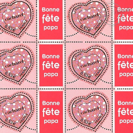 """FEUILLE TIMBRES SAINT-VALENTIN """"COEURS DE CACHAREL"""" (3747A) AVEC VIGNETTE """"Bonne Fête papa"""""""