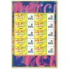 """FEUILLE TIMBRES DE MESSAGES """"MERCI"""" (3433) AVEC VIGNETTE LES TIMBRES PERSONNALISES"""