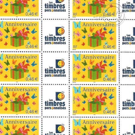 FEUILLE TIMBRES ANNIVERSAIRES (3480A) AVEC VIGNETTE TIMBRES PERSONNALISES