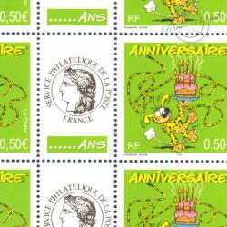 FEUILLE TIMBRES ANNIVERSAIRES MARSUPILAMI (3569A) AVEC VIGNETTE CERES