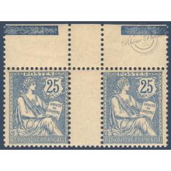N°__127 PAIRE TYPE MOUCHON RETOUCHE 25c BLEU SIGNE BRUN, TIMBRES NEUFS ** 1902