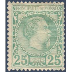 MONACO N°6 PRINCE CHARLES III 25c VERT, TIMBRE NEUF* 1885