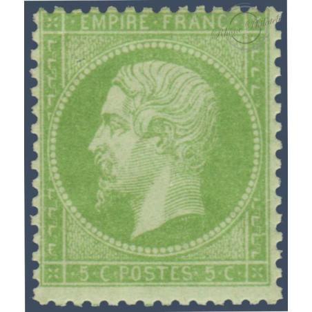 FRANCE N°_20 TYPE NAPOLEON 5C VERT, TIMBRE NEUF* 1862