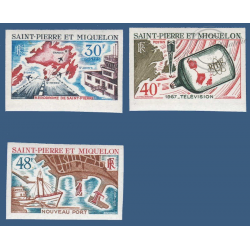SAINT PIERRE MIQUELON N°__376 -378 SERIE TIMBRES NON DENTELES AMENAGEMENTS 1967