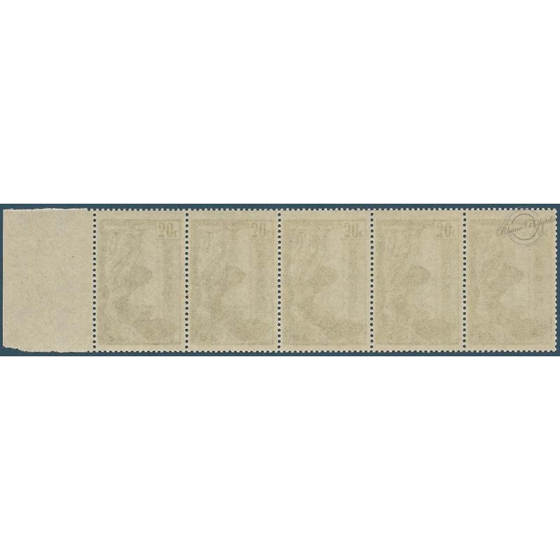 VICTOIRE DE SAMOTHRACE N°354 - BANDE DE 5 TIMBRES POSTE AVEC BORD DE FEUILLE
