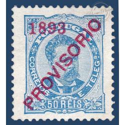 PORTUGAL N°91 TIMBRE TYPE LOUIS 1ER DE 1882 SURCHARGÉ 1893 PROVISORIO