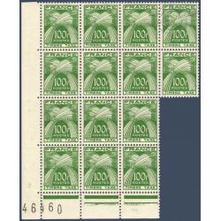 TAXE N°_89 TYPE GERBES 100F. VERT, FEUILLE 14 TIMBRES NEUFS** 1946-55