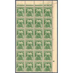 TAXE N°_80 TYPE GERBES 50c. VERT, FEUILLE 24 TIMBRES NEUFS** 1946-55