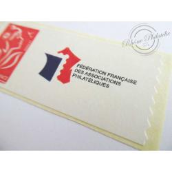 TIMBRE PERSONNALISE N°3802A MARIANNE ROUGE LAMOUCHE, VIGNETTE LOGO FFAP
