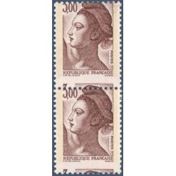 TIMBRES POSTE N°2243 MARIANNE DE DELACROIX VARIÉTÉ DÉCOUPE DECALLEE 1982