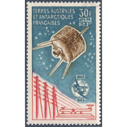 TAAF POSTE AÉRIENNE N°9 CENTENAIRE UNION INTERNATIONALE TELECOMMUNICATIONS 1965