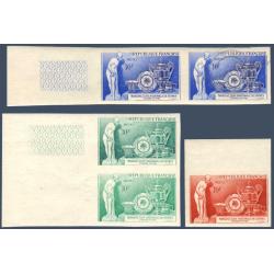 PAIRE N°1094 + ESSAIS DE COULEURS NON DENTELES, TIMBRES NEUFS** (1957)