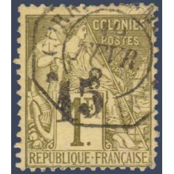 GABON N°7 TIMBRE POSTE TYPE ALPHEE DUBOIS SURCHARGE, OBLITERE SIGNE 1888