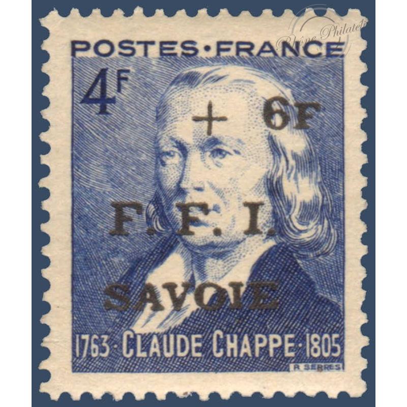 LIBÉRATION SAVOIE N°13 CLAUDE CHAPPE TIMBRE SURCHARGE, NEUF** 1944
