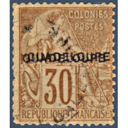 GUADELOUPE N°_22b TIMBRE TYPE ALPHEE DUBOIS DE 1881 AVEC DOUBLE SURCHARGE, 1891