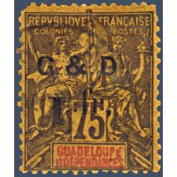 GUADELOUPE N°49f TIMBRE AU TYPE SAGE VARIETÉ CHIFFRES RENVERSÉS, OBLITÉRÉ 1903