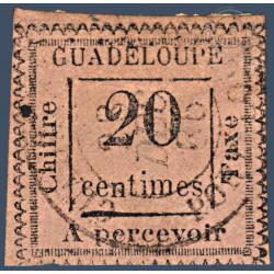 GUADELOUPE TAXE N°9a VARIETE 2 PENCHÉ, TIMBRE OBLITÉRÉ 1884