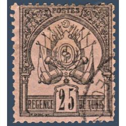 TUNISIE N°5 TIMBRE POSTE ARMOIRIES FOND UNI, OBLITÉRÉ 1888-1893