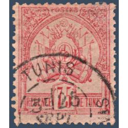 TUNISIE N°7 TIMBRE POSTE ARMOIRIES FOND UNI, OBLITÉRÉ 1888-1893