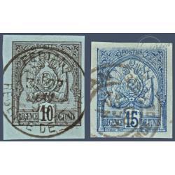 TUNISIE N°12 ET 13 TIMBRES POSTE ARMOIRIES SUR BRISTOL, OBLITÉRÉS 1888-93