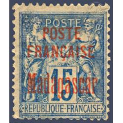 MADAGASCAR N°16 TIMBRE DE FRANCE TYPE SAGE DE 1876-92 SURCHARGÉ, NEUF* 1895