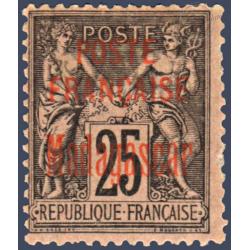 MADAGASCAR N°17 TIMBRE DE FRANCE TYPE SAGE DE 1876-92 SURCHARGÉ, NEUF* 1895