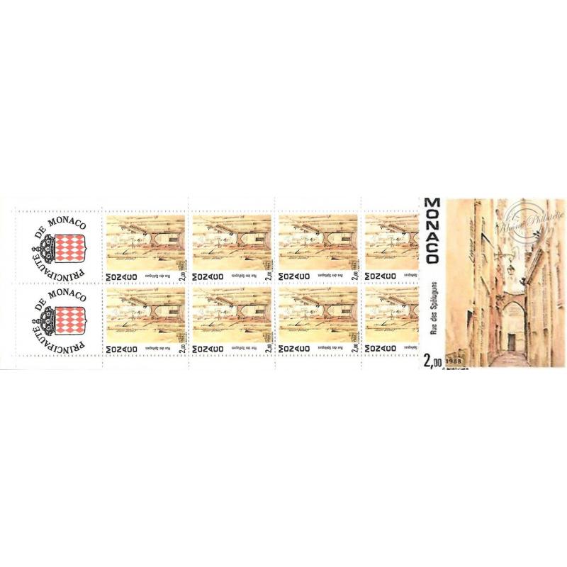 MONACO CARNET N°2 LUXE_vues du vieux Monaco_ 10 TIMBRES DE 2F00_1990