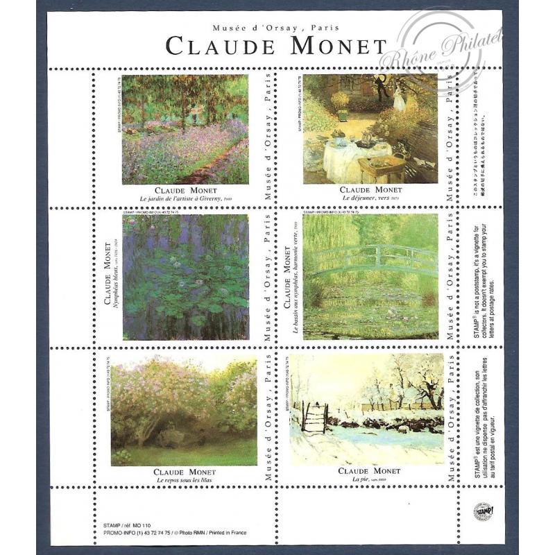 CLAUDE MONET vignettes de collection du Musée d'Orsay sans valeurs d'afranchissement