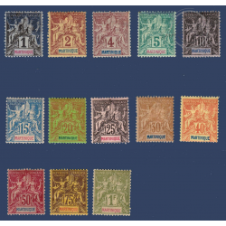 MARTINIQUE N°31 A 43 GROUPE ALLEGORIQUE, TIMBRES NEUFS* 1892