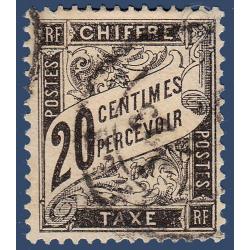 TAXE N°_17 TYPE DUVAL 20C NOIR 1881-1892 TIMBRE OBLITÉRÉ