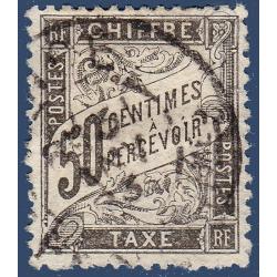 TAXE N°_20 TYPE DUVAL 50C NOIR 1881-1892 TIMBRE OBLITÉRÉ