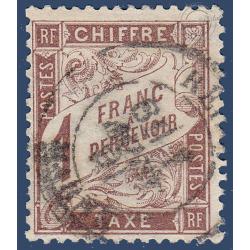 TAXE N°_25 TYPE DUVAL 1F. MARRON 1884 TIMBRE OBLITÉRÉ