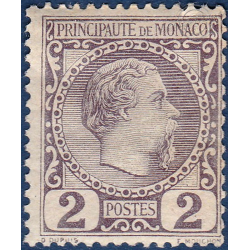 MONACO N°2 TYPE PRINCE CHARLES III 2c VIOLET GRIS, TIMBRE NEUF* 1885