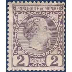 MONACO N°2 TYPE PRINCE CHARLES III, TIMBRE NEUF* 1885