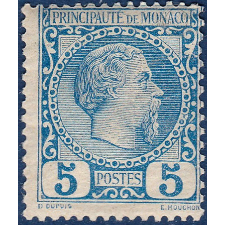 MONACO No3 TYPE PRINCE CHARLES III 5c BLEU, TIMBRE NEUF* 1885