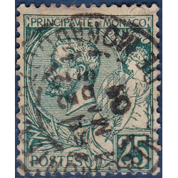 MONACO N°6 TYPE PRINCE CHARLES III, TIMBRE OBLITÉRÉ 1885