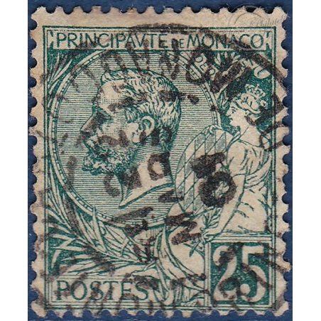 MONACO N°6 TYPE PRINCE CHARLES III 25c VERT, TIMBRE OBLITÉRÉ 1885