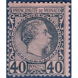 MONACO No7 TYPE PRINCE CHARLES III 40c BLEU SUR ROSE, TIMBRE NEUF* 1885