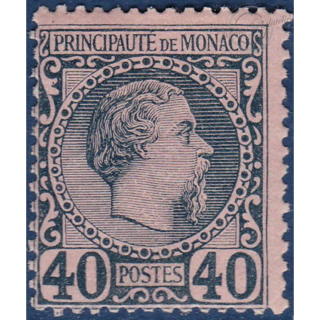 MONACO No7 TYPE PRINCE CHARLES III 40c BLEU SUR ROSE, TIMBRE NEUF* 1885