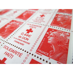 FEUILLE TIMBRES POSTE No4434 MARIANNE ROUGE DE BEAUJARD SOLIDARITE HAITI (2010)
