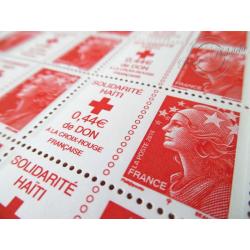 FEUILLE TIMBRES POSTE N°4434 MARIANNE ROUGE DE BEAUJARD SOLIDARITE HAITI (2010)