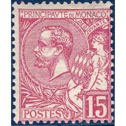 MONACO N°15 PRINCE ALBERT 1ER 15c ROSE, TIMBRE NEUF* 1891-94