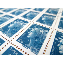 FEUILLE TIMBRES POSTE No4567 MARIANNE DE BEAUJARD (2011) BLEU LETTRE 20G EUROPE